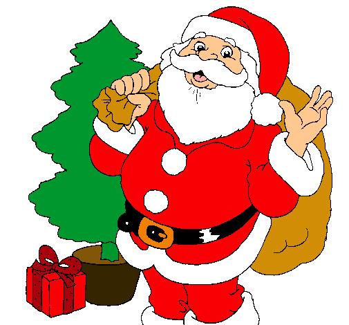 Dibujo De Santa Claus Y Un Arbol De Navidad Pintado Por Patito En