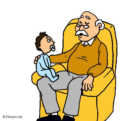 Dibujo De Abuelo Y Nieto Pintado Por Liz4444 En Dibujosnet El Día