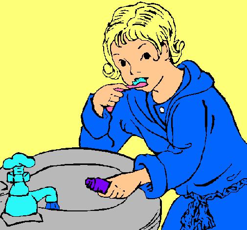Dibujo De Niño Lavándose Los Dientes Pintado Por Cepillandose En