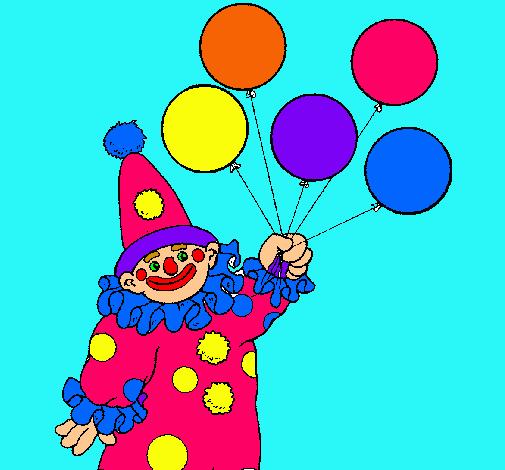 dibujo de payaso con globos pintado por amalia en dibujos