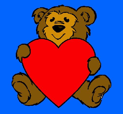 dibujo de oso enamorado pintado por cara en dibujos net el día 16 02