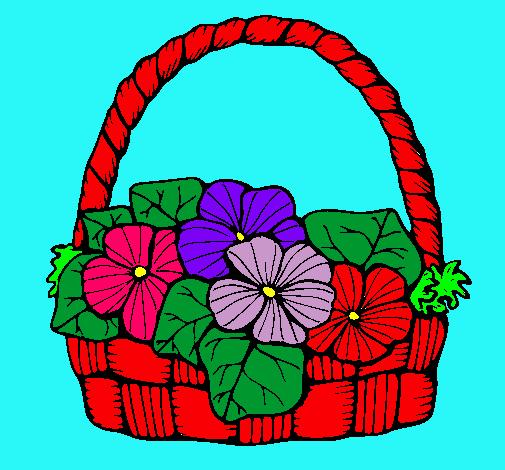 Dibujo de Cesta de flores 6 pintado por Canasta en Dibujos.el