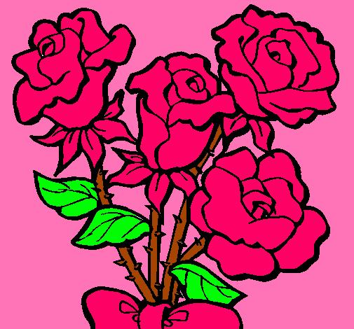 Dibujo De Ramo De Rosas Pintado Por Rosas En Dibujosnet El Día 07