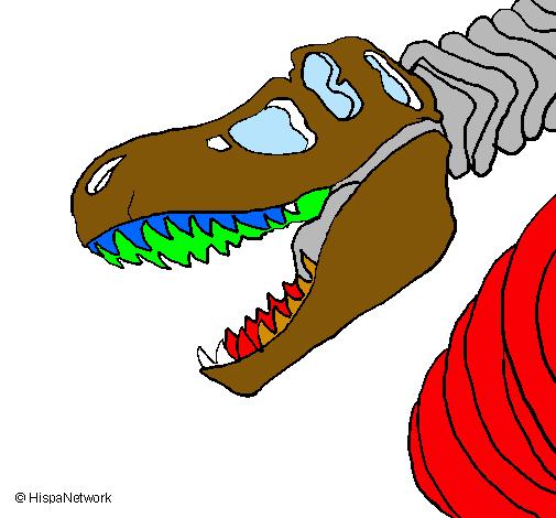 dibujo de esqueleto tiranosaurio rex pintado por tigre en dibujos