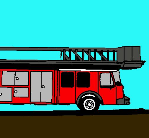 Dibujo De Camion De Bomberos Con Escalera Pintado Por Leirbag En