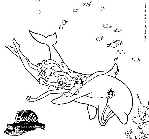 Dibujo De Barbie Y Delfín Pintado Por Cucu En Dibujosnet El Día 12