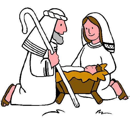 Dibujo De Adoran Al Niño Jesús Pintado Por Nacimiento En
