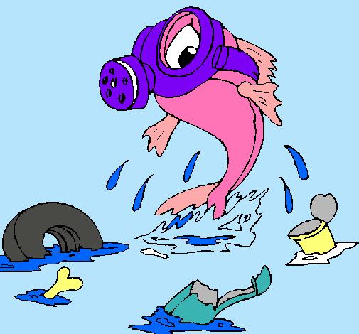 Dibujo De Contaminación Marina Pintado Por Pezcados En Dibujosnet