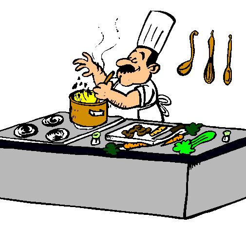 Dibujo de cocinero en la cocina pintado por cocinero en for Herramientas de un cocinero