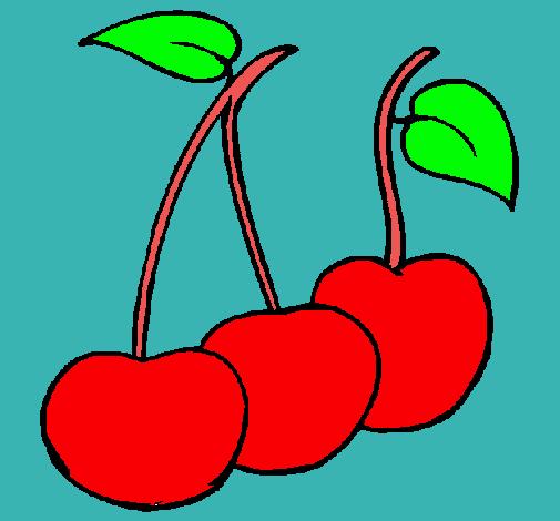 Dibujo De Cerezas Pintado Por Frutero En Dibujosnet El Día 03 06 11