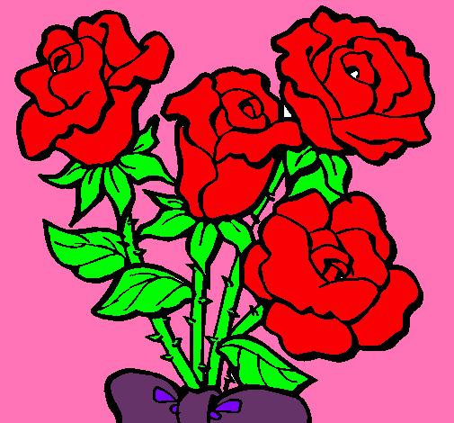 Dibujo De Ramo De Rosas Pintado Por Rosales En Dibujosnet El Día 16