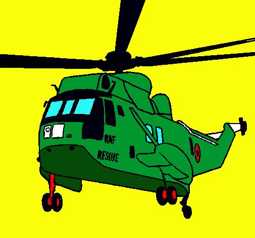 Dibujo De Helicóptero Al Rescate Pintado Por Guerra En