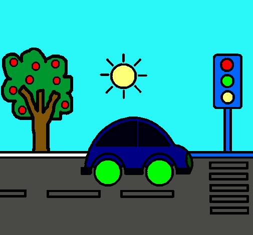 Dibujo De Coche De Ciudad Pintado Por Carretera En Dibujos