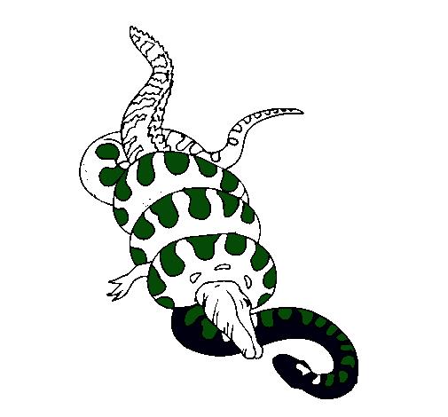 Dibujo de Anaconda y caimán pintado por Serpiente en Dibujos.net el ...