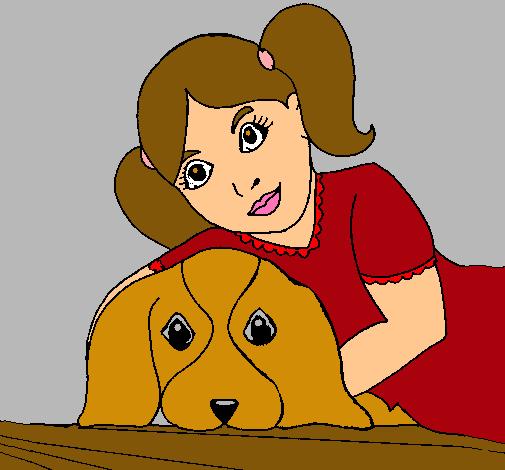 Dibujo De Niña Abrazando A Su Perro Pintado Por Zopilote En Dibujos