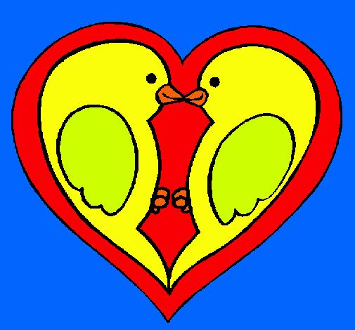 Dibujo De Pajaritos Enamorados Pintado Por Amor Animal En Dibujos