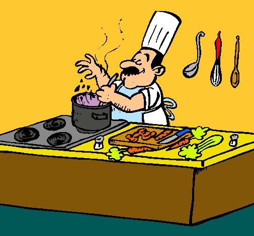 Dibujo De Cocinero En La Cocina Pintado Por Cocinando En