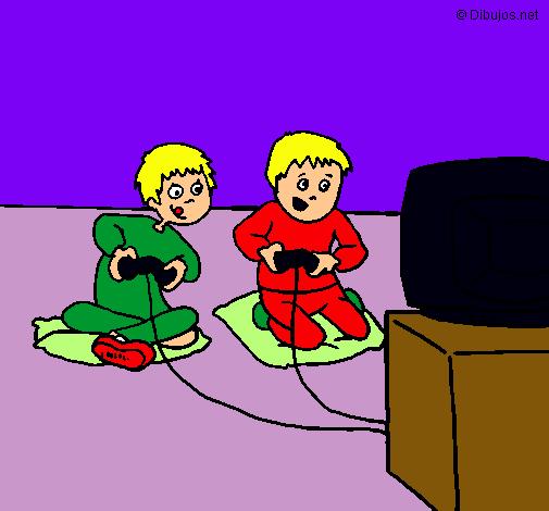 Dibujo De Ninos Jugando Pintado Por Videojuego En Dibujos Net El Dia