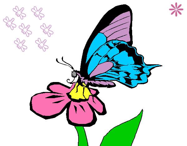 Dibujo De Mariposa En Una Flor Pintado Por Liidia En Dibujosnet El