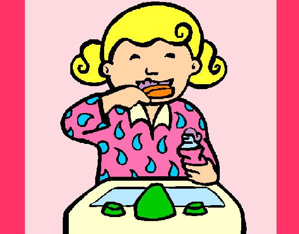 Dibujo De Niña Cepillándose Los Dientes Pintado Por Luzkarina En