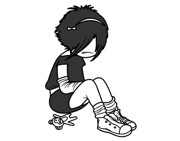 Dibujo de niña emo pintado por Nenamoxa12 en Dibujos.net el día 09 ...