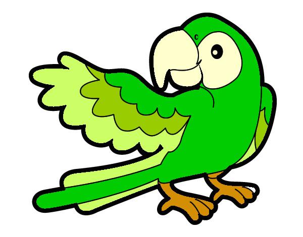 Dibujos Animados De Color Verde: Dibujo De Loro Con Ala Abierta Pintado Por Guadasofia En