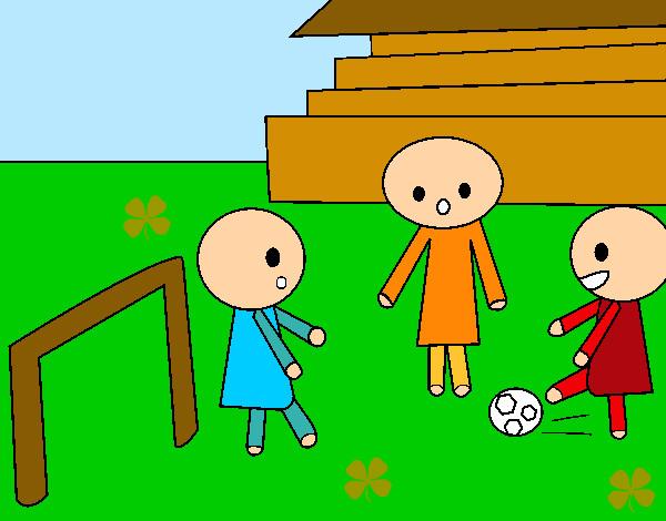 Dibujo De Niños Jugando Al Fútbol Pintado Por Silvitica En Dibujos