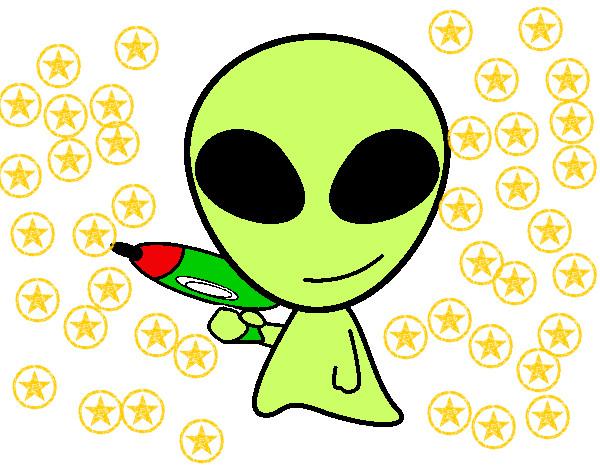 Dibujo De Marciano De Color Verde Pintado Por Smilelove En