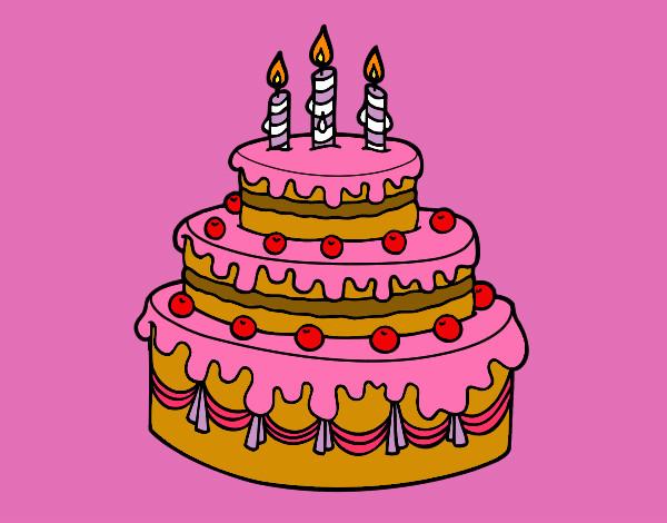 Dibuja Y Colorea Torta De Cumpleaños: Dibujo De Torta De Cumpleaños!!! Pintado Por Lara_vilu En