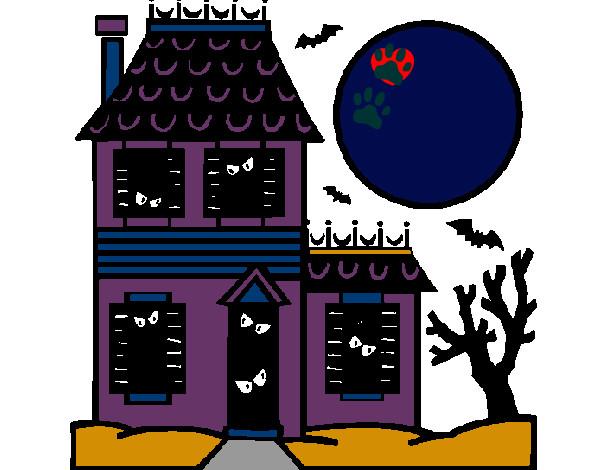 Dibujo de casa embrujada pintado por Mapa en Dibujos.net el día 31 ...