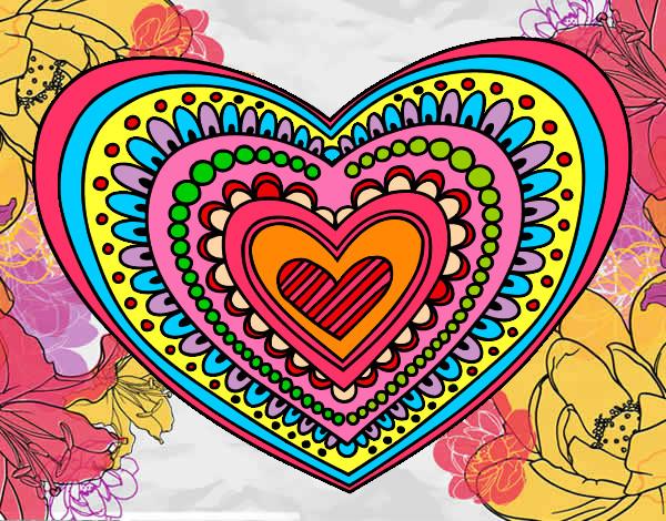 Dibujo De Mandala 11 Para Pintar Y Colorear En Línea: Dibujo De Mandala Corazón Pintado Por Silver022 En Dibujos