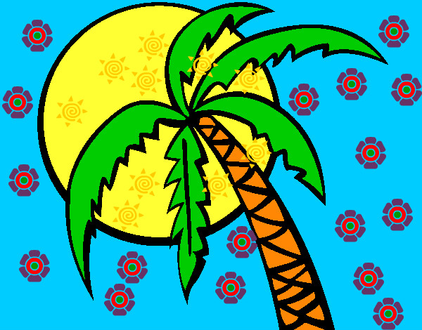 Dibujo De Palmera En La Playa Pintado Por Cokilux En Dibujosnet El