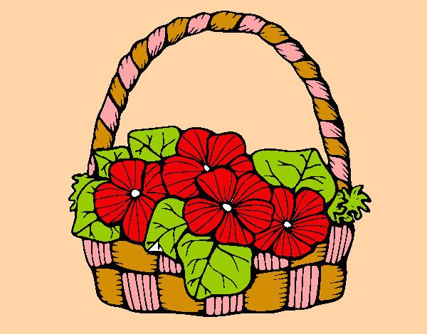 Dibujo De Canasta De Flores Pintado Por Melani2210 En Dibujosnet