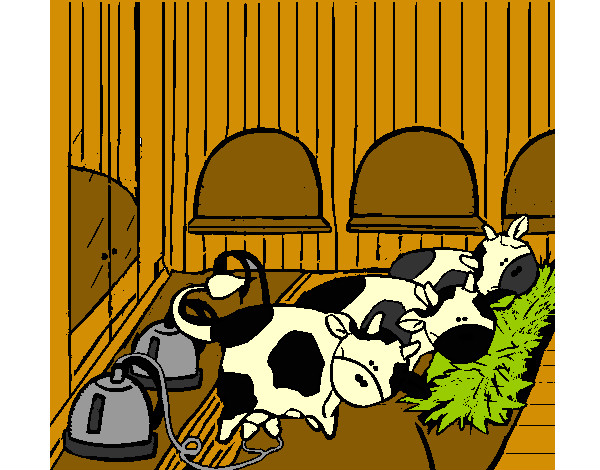Dibujo De Vacas En El Establo Pintado Por Amalia En Dibujos