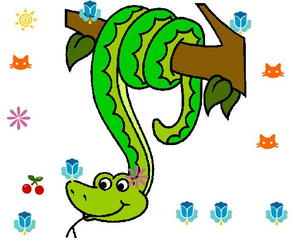 Dibujo de Serpiente colgada de un árbol pintado por Monse456 en ...