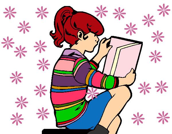 Dibujo De Niña Leyendo Pintado Por Yaja En Dibujos.net El