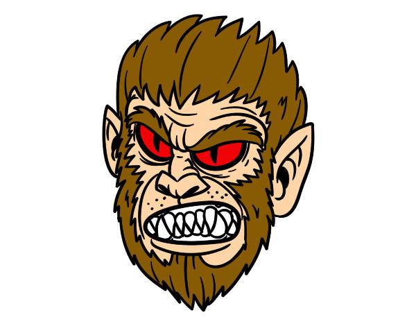 Dibujo De Hombre Lobo Para Colorear: Dibujo De Cara De Hombre Lobo Pintado Por Moe9950 En