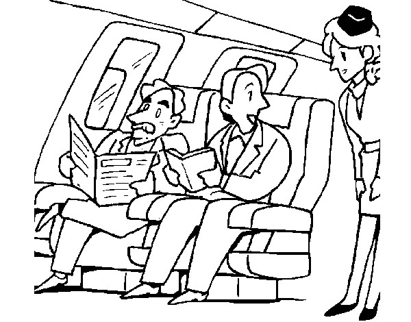 Dibujo Para Colorear Viajar: Dibujo De Pasajeros En El Avión Pintado Por Bossdubois En
