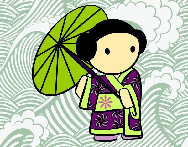 Dibujos De Geishas Para Colorear Dibujosnet