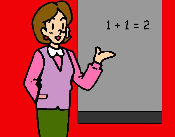 Dibujo De Profesora Dando Matematicas Pintado Por Marcosizan