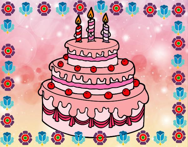 Dibuja Y Colorea Torta De Cumpleaños: Dibujo De UNA TORTA DE FRESA Pintado Por Aurora9 En