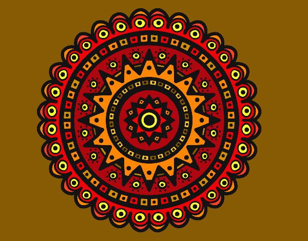 Dibujo de Mandala en colores tierra pintado por Ncpm en Dibujosnet
