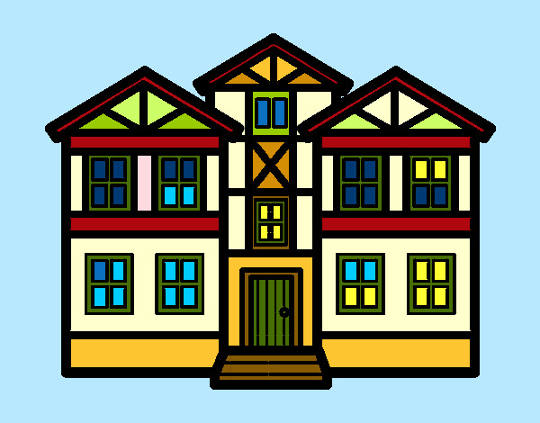 Imagenes De Edificios En Caricatura: Dibujo De Casas Pintado Por Queyla En Dibujos.net El Día