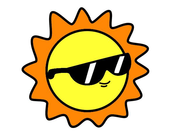 dibujo de sol con gafas pintado por jada en dibujos net el día 21 03
