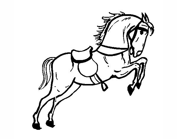 Dibujo de Caballo con silla saltando pintado por en Dibujos.net el ...