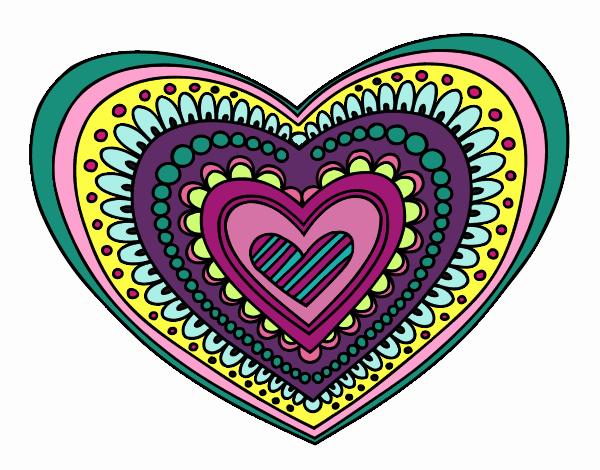Dibujos De Corazones Coloridos: Dibujo De Amor En Mil Colores! Pintado Por En Dibujos.net