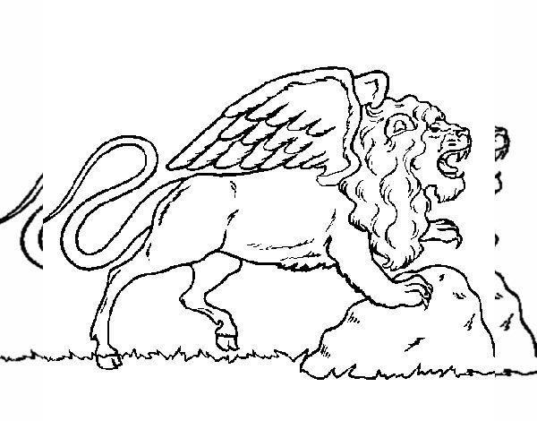 Dibujo De León Alado Pintado Por En Dibujosnet El Día 03 05 15 A