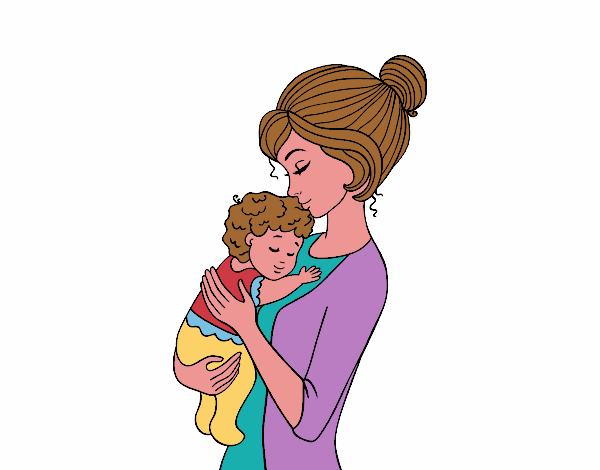Dibujo de Madre cogiendo al bebé pintado por en Dibujos.net el día ...