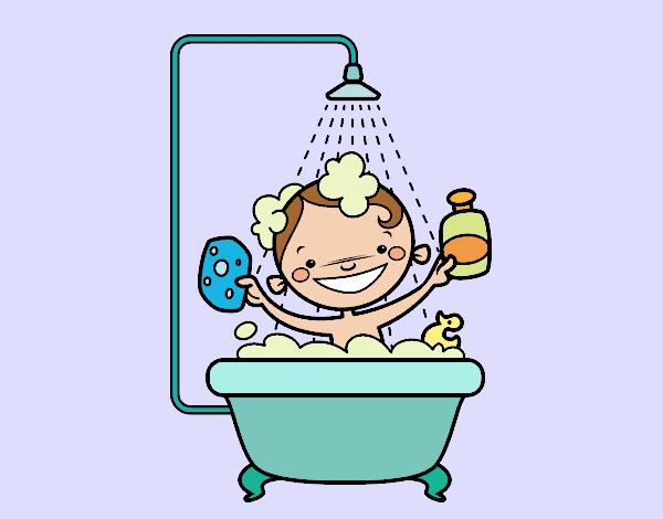 Dibujo de ni o en la ducha pintado por queyla en dibujos for Porque gotea la regadera del bano