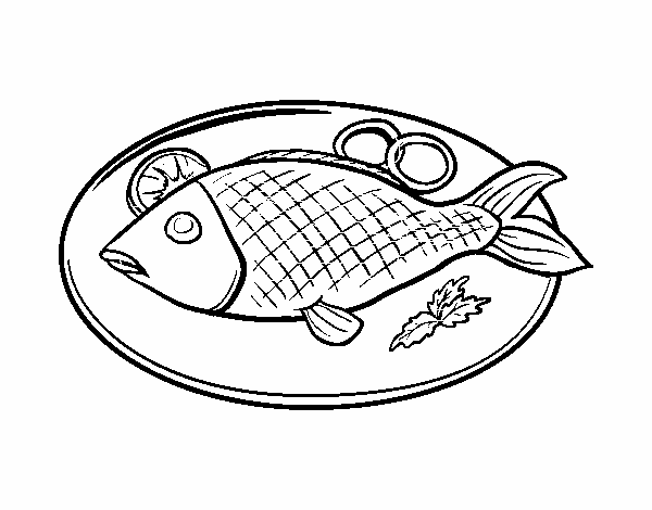 Dibujo De Plato De Pescado Pintado Por En Dibujosnet El Día
